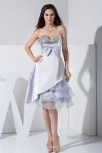 Sequin Bowknot Ruffles for Grey Mother Bride Dress in Tea-length