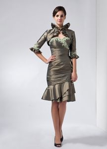 Sweetheart Olive Green Mother of the Bride Dress Appliques Decorate