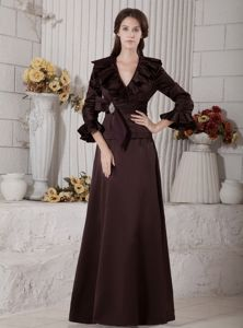 Brown V-neck 3/4 Sleeves Mother of the Bride Dress with Ruffles