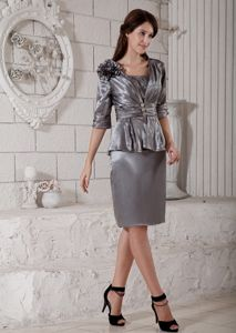 Grey Column Scoop Mother of the Bride Dress Flower Decorate