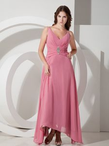 Customize V-neck Beading Mother of the Bride Dress in Ankle-length