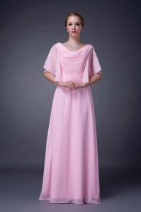 Beaded V-neck Empire Pink Floor-length Chiffon Mother Of The Bride Outfits