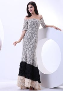 Multi-color Lace Off The Shoulder Floor-length Mother Bride Dresses