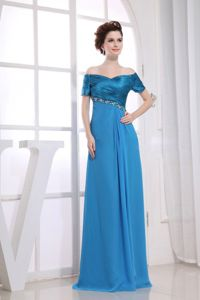 Beading and Ruche Off The Shoulder Blue Dresses For Bride Mother