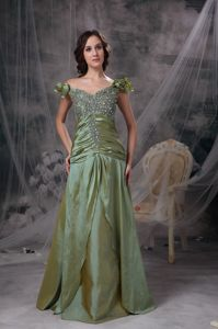 Olive Green Off The Shoulder Mother of the Bride Dresses with Beading and Ruche