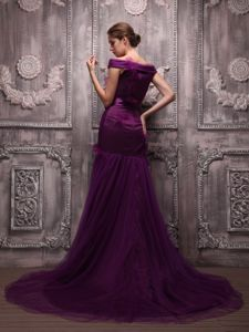Mermaid Off The Shoulder Mother of the Bride Dress in Dark Purple with Brush Train