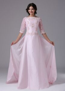 Half Sleeves Mother Of The Bride Dress with Appliques in Baby Pink