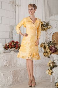 Yellow Sweetheart Knee-length Dresses For Bride Mother with Ruche