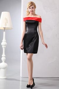 Off The Shoulder Mini-length Taffeta Mother of the Bride Dresses in Red and Black