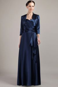 Halter Empire Taffeta Mother of the Bride in Navy Blue with Ruches