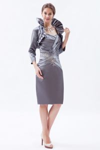 Sweetheart Grey Beading and Ruches Mother Of The Bride Dress