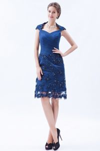 Embroidery and Beading Square Column Knee-length Blue Mother of the Bride Dress