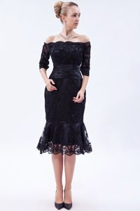 Navy Blue Off the Shoulder 1/2 Sleeves Lace Beading Mother of the Bride Dress