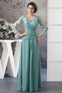 Turquoise V-neck Lace and Ruches Mothers Dresses with Long Sleeves