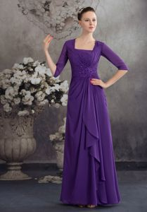 Square Half Sleeves Mother of the Bride Dress in Purple with Ruffles and Beading