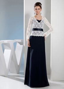 Navy Blue and White V-neck Long Sleeves Lace Mothers Dress