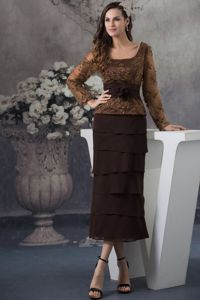 Chocolate Embroidery Beaded Long Sleeve Mothers of the Bride Dress