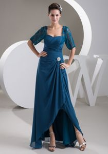 Square Half-sleeve Ruched Teal Asymmetrical Hem Mother of the Bride Dress