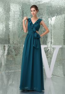 Teal V-neck Column Chiffon Mother of the Groom Dress with Sash
