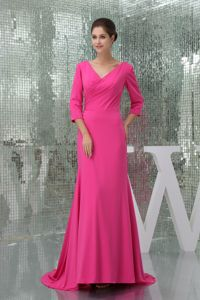 Hot Pink Column V-neck 3/4 Sleeves Mother of the Bride Dress with Brush Train