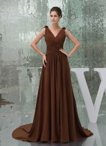 V-neck Ruches and Flowers Brown A-line Mother of the Bride Dresses Court Train