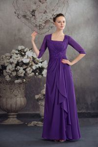 Square Empire Purple Dresses For Bride Mother with Beading