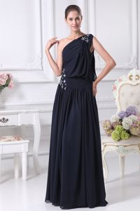 One Shoulder Navy Blue Empire Mother Bride Dress with Beads