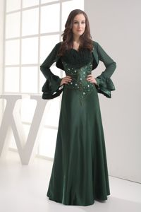 Dark Green Straps Beaded Dresses For Bride Mother for Cheap