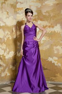 Taffeta Purple V-neck Dresses For Bride Mother with Beading