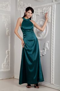 Ankle-length Peacock Green Scoop Mother Bride Dress Beaded