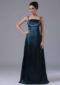 Beaded Navy Blue Mother Of Bride Dress with Wide Straps