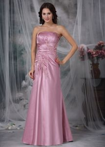 Rose Pink Column Chic Taffeta Mother of the Bride Dresses with Appliques
