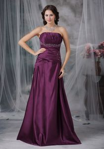 Sweetheart Beaded Dark Purple A-line Dress For Bride Mother