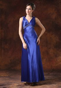 Backless Blue Halter Sheath Mother Bride Dress Beaded 2013