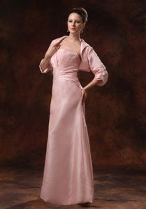 Pink Ruched and Appliques Mother Of The Bride Dress with Jacket
