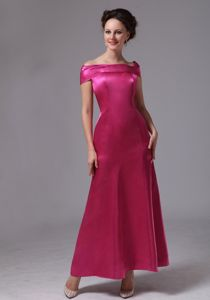Hot Pink Off The Shoulder Ankle-length Mother Of The Bride Dress