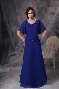 A-line Square Floor-length Blue Mother of the Bride Dresses for Formal Prom