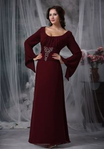 Burgundy Scoop Mother Bride Dresses with Long Sleeves Beading