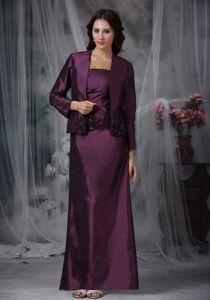 Dark Purple Strapless Ankle-length Mather Of The Bride Dress