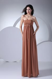 Beading Empire Brown Strapless Floor-length Mother of the Bride Dresses
