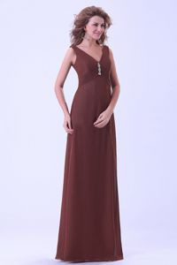 Empire Brown Mother Of The Bride Dress V-neck Floor-length