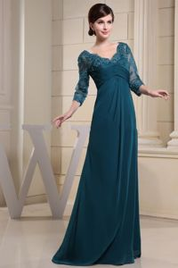 V-neck 3/4 Sleeves Teal Lace Mother of the Bride Dress for Wedding Reception