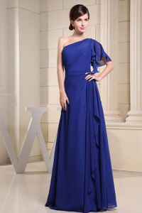 One Shoulder Blue Mother Of The Bride Dresses with Short Sleeve