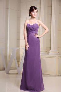 Floor-length Sweetheart Ruched Light Purple Mother of Bride Dress