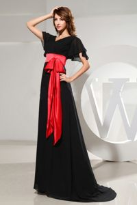 Red Belt V-neck Short Sleeves Black Long Dress for Bride Mother