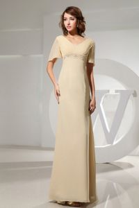 Chiffon V-neck Short Sleeves Floor-length Mother of Bride Dresses