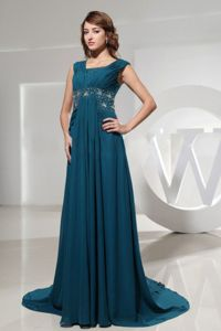 Brush Train Ruched Beading Square Neck Mother of Bride Dresses