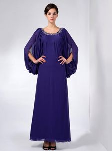 Long Open Sleeves Scoop Beading Ankle-length Mother Bride Dress