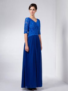 Beaded V-neck Half Sleeves Lace Accent Royal Blue Mother of the Bride Dress