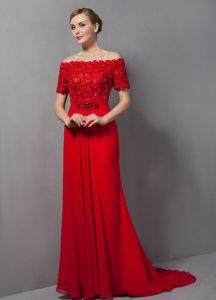 Cheap Beading Lace off the Shoulder Red Mother of Bride Dresses